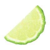 halva skivad kaffirlimefrukt som isoleras på vit Arkivfoton