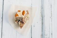 The halva on a white table. The halva dessert on white wooden table Stock Photos