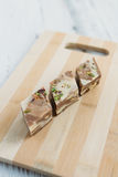 The halva on a white table. The halva dessert on white wooden table Stock Image