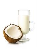Halvan av den nya kokosnöten och kokosnöten mjölkar i ett exponeringsglas royaltyfria foton