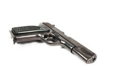 Halvautomatiskt 9mm vapen som isoleras på vit bakgrund Royaltyfria Foton