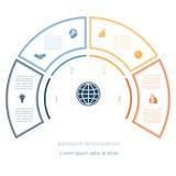 Halvcirkelmall från infographic fyra nummeralternativ Royaltyfri Bild