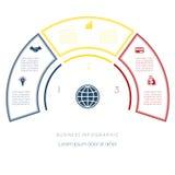 Halvcirkelmall från infographic tre nummeralternativ Arkivfoton