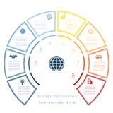 Halve cirkelmalplaatje van infographic acht aantallenopties Royalty-vrije Stock Afbeelding