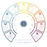 Halve cirkelmalplaatje van infographic negen aantallenopties Royalty-vrije Stock Afbeeldingen