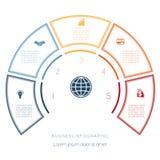 Halve cirkelmalplaatje van infographic vijf aantallenopties Stock Foto's