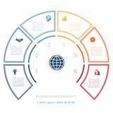 Halve cirkelmalplaatje van infographic zes aantallenopties Royalty-vrije Stock Foto