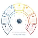 Halve cirkelmalplaatje van infographic zeven aantallenopties Royalty-vrije Stock Afbeeldingen