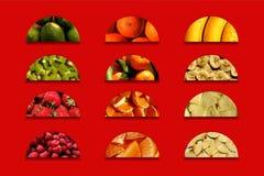 Halve cirkelshoogtepunt van fruitige texturen Royalty-vrije Stock Fotografie