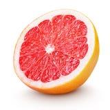 Halve die grapefruitcitrusvruchten op wit worden geïsoleerd Stock Afbeelding