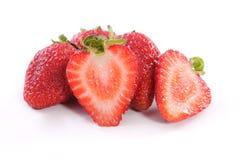 Halve en Volledige Strawberrys Stock Afbeeldingen