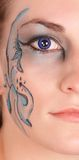 Halve face blue eye Stock Photos