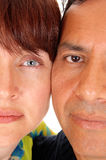 The halve faces of a middle age couple. Royalty Free Stock Photography