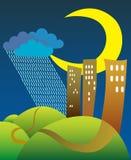 Halve maan en regen Royalty-vrije Stock Afbeeldingen