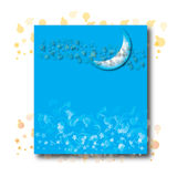 Halve maan op blauw Stock Afbeeldingen