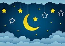 Halve maan, sterren en wolken op de donkere achtergrond van de nachthemel Document art. Slinger met sterren Stock Foto's
