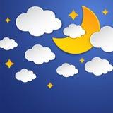 Halve maan, sterren en wolken op de kaart van de nachthemel Document art. De sc?ne van de nacht Vector illustratie stock illustratie