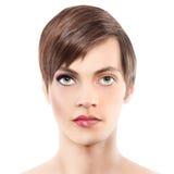 Halve man van de portret de halve vrouw, androgyny concept stock afbeelding