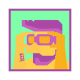 Halve mens klaar te zwemmen, dragend beschermende bril, Vectorillustratie Royalty-vrije Stock Fotografie