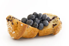 Halve Muffin filled with Blueberries. Halve muffin stuffed with blueberry fruits stock images