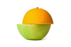 Halve oranje halve appel Royalty-vrije Stock Afbeelding