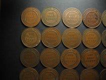Halve Penny Vintage Australian Coin Collection Omgekeerde Royalty-vrije Stock Foto