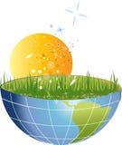 Halve planeet met gras en zon Stock Afbeeldingen