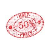 Halve prijs rubberzegel Stock Afbeeldingen