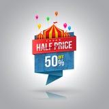 Halve prijsbanner met circus vector illustratie