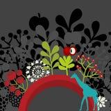 Halve ronde banner met flora en giraf. vector illustratie