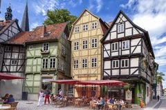 Quedlinburg halve timbered houses  Uncesco Site Stock Images
