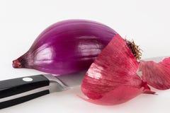 halved красный цвет лука ножа кухни Стоковые Изображения RF