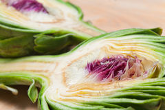Halved artichoke. Close up of two halved artichokes Stock Photo
