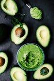 Halved avocados. Top view. spread. pasta. Guacamole Royalty Free Stock Photo