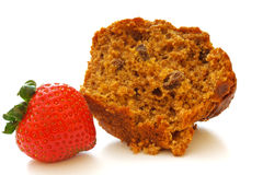 Halved Bran Muffin with Single Strawberry Royalty Free Stock Photography