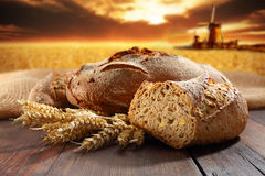 Halved bread with wind mill Stock Photos