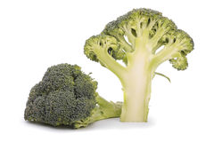 Halved broccoli isolated on white Royalty Free Stock Images
