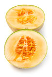 Halved cantaloupe melon fruit Stock Images