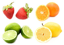 Halved citrus fruits Royalty Free Stock Images