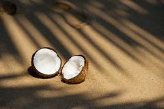 Halved coconut on beach Stock Images