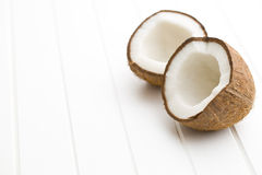 The halved coconut Stock Images