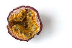 Halved Granadilla on White Background Stock Photography