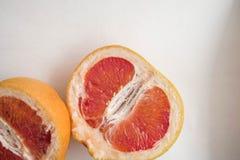 Halved grapefruit close up look. Juicy fruit stock photos