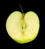 Halved green apple Stock Photo