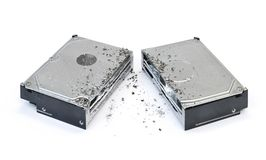 Halved hard disk drive Stock Photo