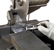 Halved hdd and circular saw Stock Images