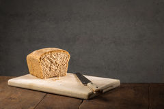 Halved loaf of freshly baked bread Royalty Free Stock Image