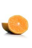 Halved mandarin on white background Stock Photo