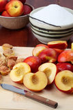 Halved nectarines Royalty Free Stock Image