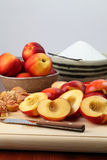 Halved nectarines Stock Image
